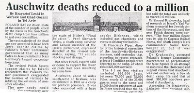 auschwitz lowers numbers